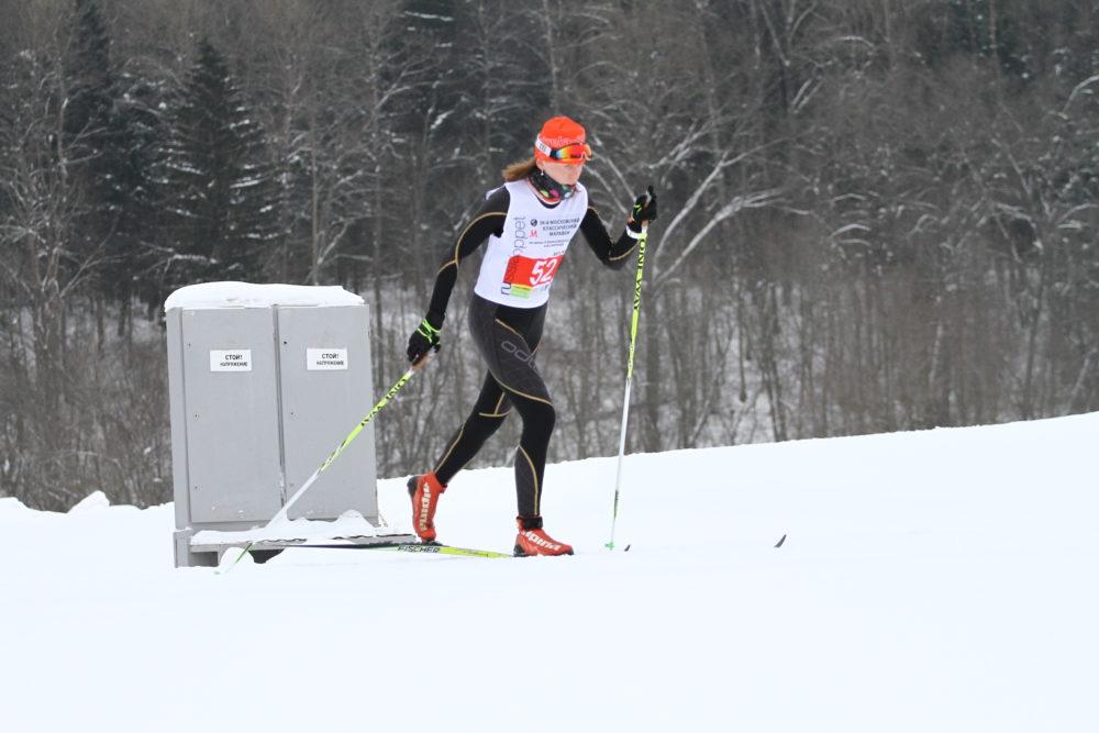 Ольга Полякова на классическом лыжном марафоне Кузина-Барановой, январь 2018