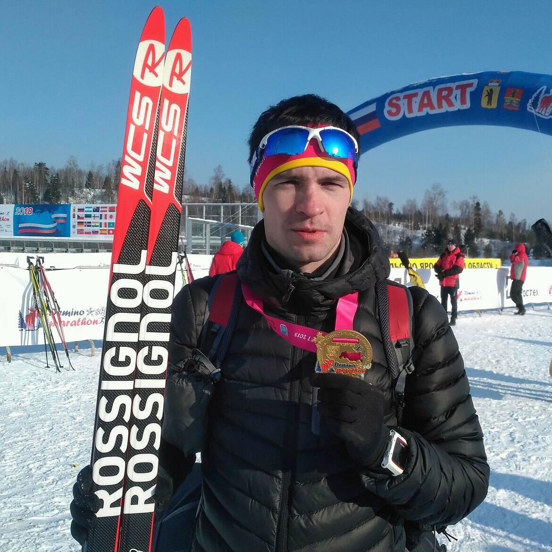 Григорий Сабиров на Деминском лыжном марафоне 2018