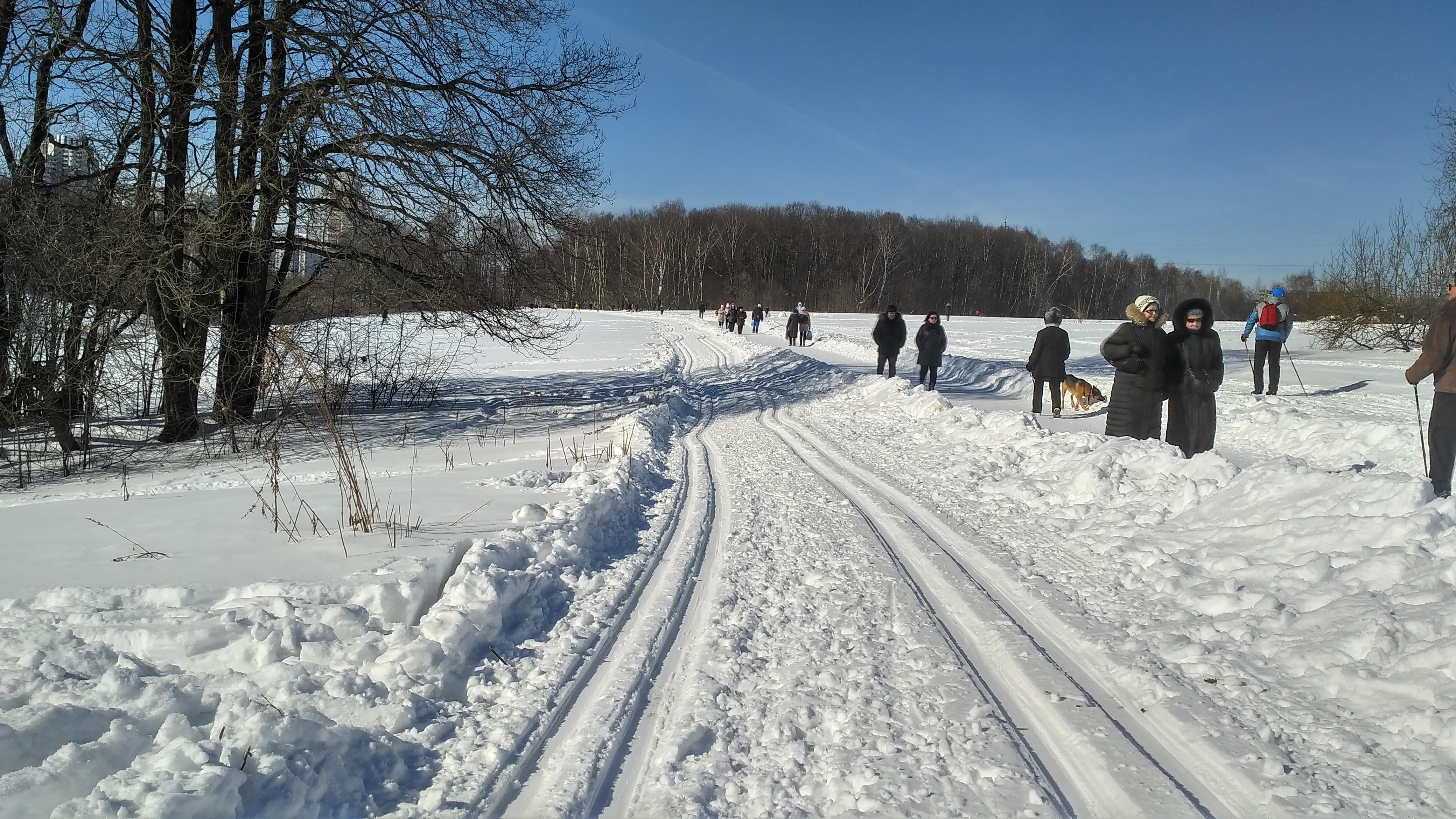 Лыжня в Битцевском парке, вход со сторону ул. Миклухо-Маклая. 9 марта 2018 года