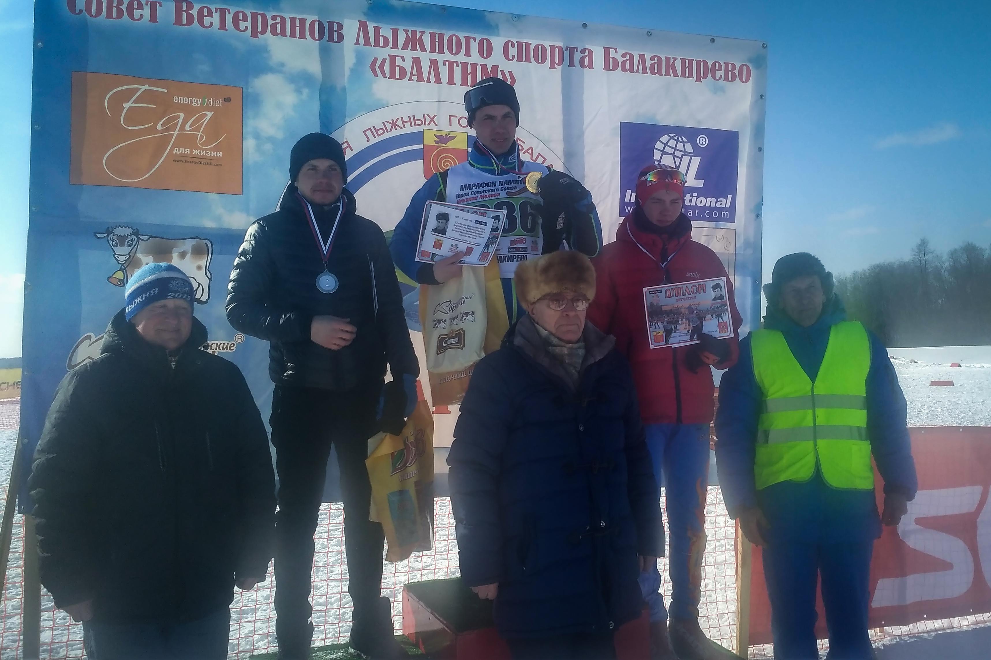 Тренер по беговым лыжам Алексей Мячин на лыжном марафоне памяти Молева в Балакирево, 17 марта 2018