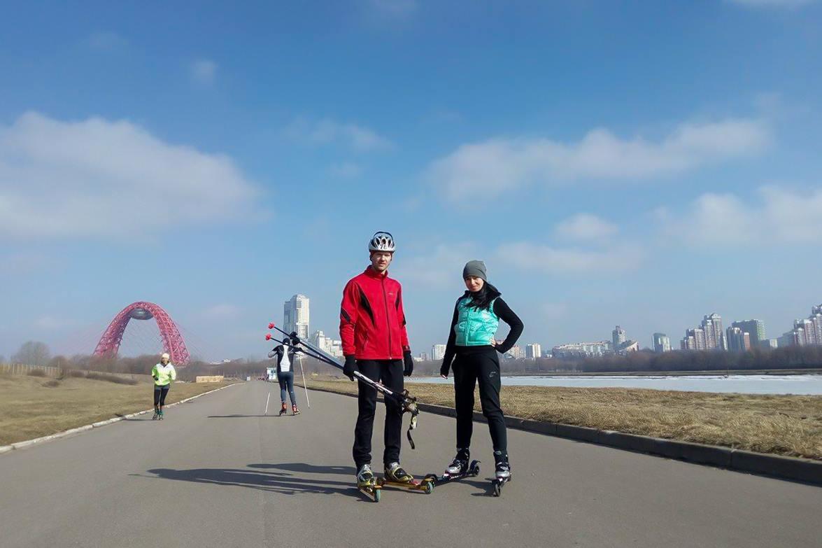 тренировки на лыжероллерах в Крылатском