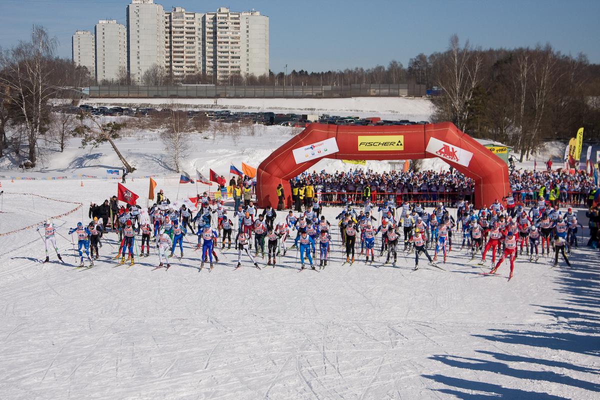 старт лыжного марафона в зоне отдыха Битца