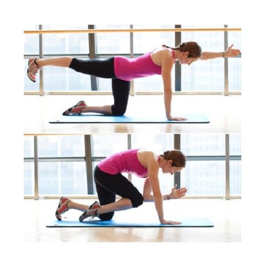 """упражнение """"птица-собака"""" для укрепления мышц кора"""