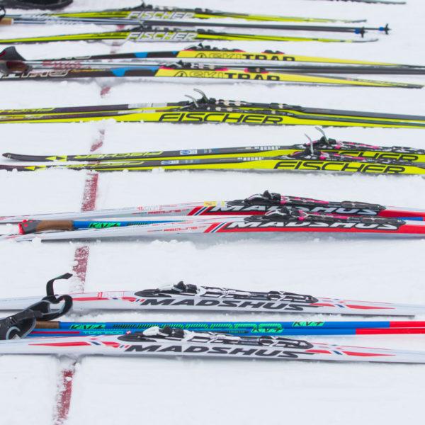 на старте соревнований по лыжам