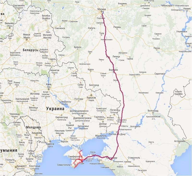 маршрут путешествия Евгения Литвинова на лыжероллерах Москва - Севастополь