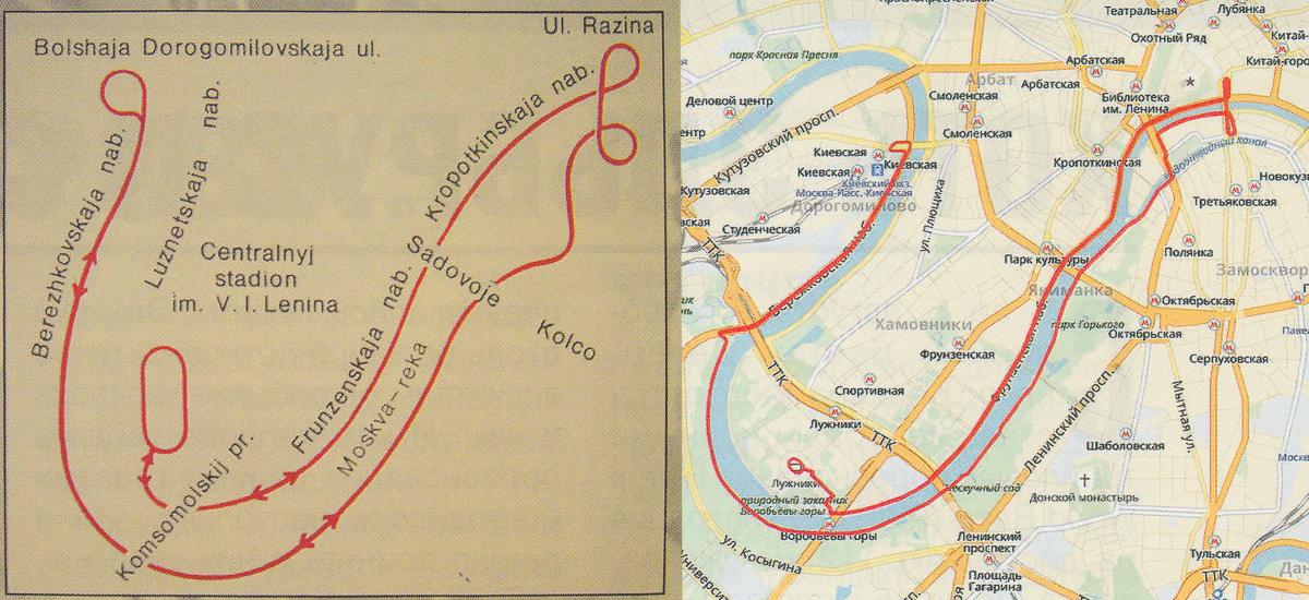 схема трассы марафона на московской Олимпиаде-80