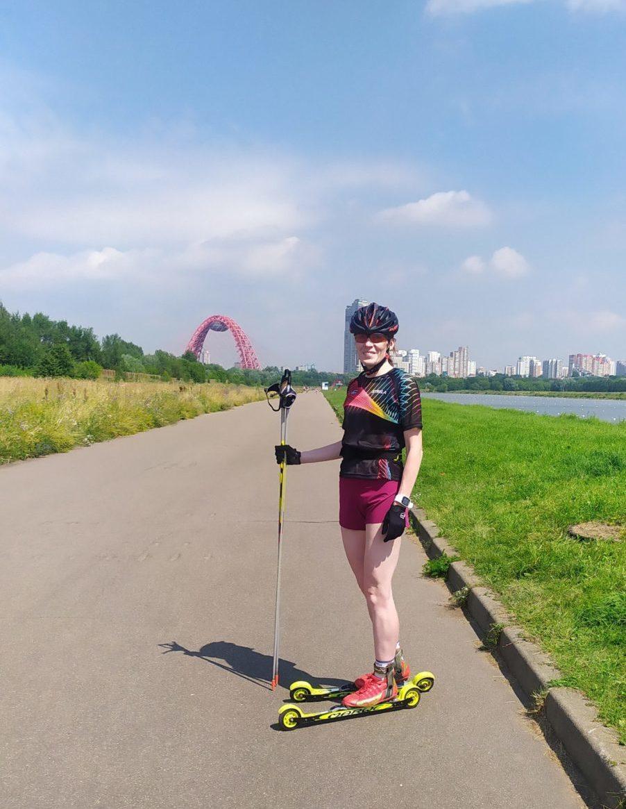 Ольга Полякова - тренировки на лыжероллерах